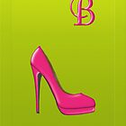 Stylish pink shoe for her, monogram B by Monartcanadian