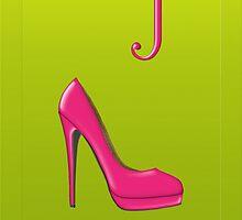Stylish pink shoe for her, monogram J by Monartcanadian