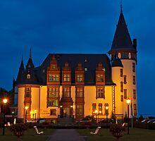 Klink Castle Hotel at dusk, Müritz Lake, Mecklenburg-Western Pomerania, Germany, Europe. by David A. L. Davies