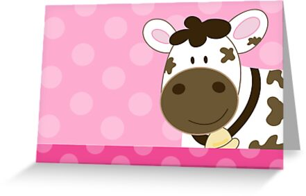 Happy Cow with Pink Dots by JessDesigns