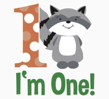 Raccoon I'm One First Birthday shirt - Orange by JessDesigns
