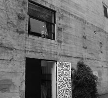 Black and White Photo of Door to Artists' Studio by sohzenbot