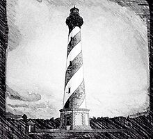 Hatteras Lighthouse photo sketch by IntWanderer