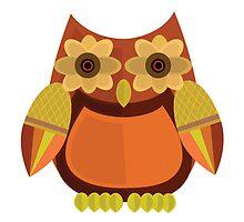 Harvest Owl - Red Orange by Adamzworld