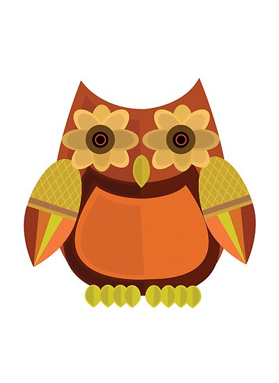 Harvest Owl - Red Orange by Adamzworld