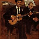 Edgar Degas French Impressionism Oil Painting Playing Guitar by jnniepce