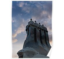 Whimsical Chimneys - Antoni Gaudi, Casa Batllo, Barcelona, Spain Poster