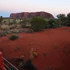 Uluru - at sunrise (Kata Tjuta to the left in the distance) by gaylene