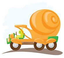 Orange snail car in cartoon style. by -ashetana-