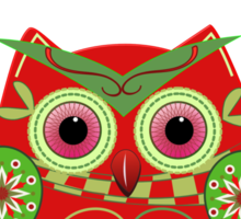 Cute Christmas Owl and Text Tee Sticker