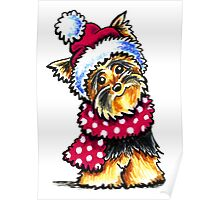 Yorkie Happy Winter Hat & Scarf Poster