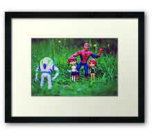 Spiderman and his friends Framed Print
