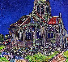 Van Gogh's 'The Church of Auvers' Reproduction by Roz Barron Abellera by Roz Barron Abellera