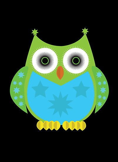 Star Owl - Green Blue 2 by Adamzworld