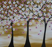 brown white pink trees with cherry blossom blossoms  by cathyjacobs