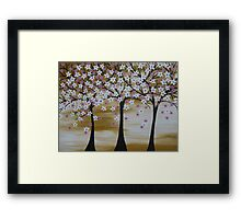 brown white pink trees with cherry blossom blossoms  Framed Print
