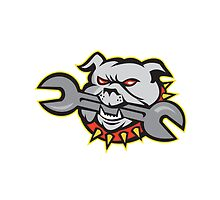 Bulldog Dog Spanner Head Mascot by patrimonio