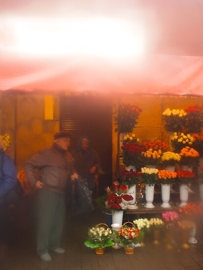 flower market though the rain by kchamula