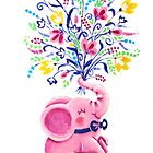 Spring Bouquet - Rondy the Elephant holding beautiful flowers by oksancia