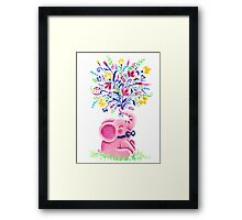 Spring Bouquet - Rondy the Elephant holding beautiful flowers Framed Print
