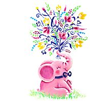 Spring Bouquet - Rondy the Elephant holding beautiful flowers Photographic Print