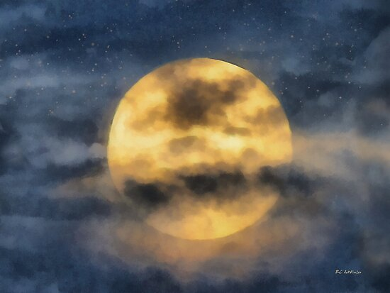 Veiled Harvest Moon by RC deWinter