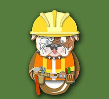 Bulldog Construction Guy Workobeez.com iPhone Cover  by Lisa Rotenberg