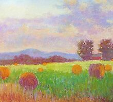 Haystacks in the evening light by Julia Lesnichy