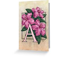 A is for Azalea - patch Greeting Card