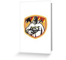 Fireman Firefighter Axe Hook Pike Pole Greeting Card