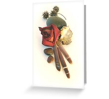 rose, spines, oyster, sweetgum pods still life Greeting Card