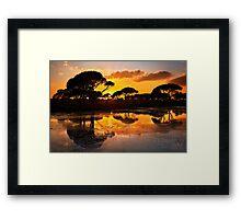 Sunset @ Strofilia forest, Prokopos lake Framed Print
