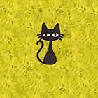 Black Cat with Yellow Background by Nicole Mule'