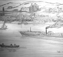 A pencil drawing of a Paddle Steamer on the Danube by Dennis Melling