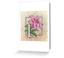 L is for Lily - full image shirt Greeting Card