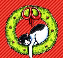 Christmas Kitty Wreath by offleashart