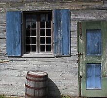Blue Window Green Door Barrel by marybedy
