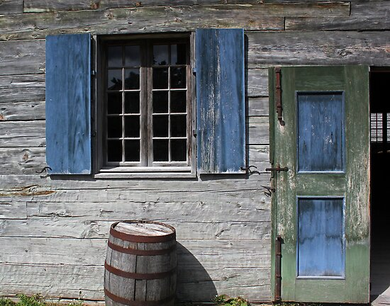 Blue Window Green Door Barrel by marybedy