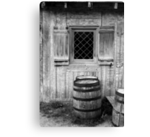 Fort Michilimackinac Window and Barrel BW Canvas Print