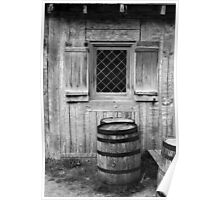 Fort Michilimackinac Window and Barrel BW Poster
