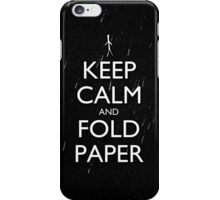 Keep Calm and Fold Paper - Stickman/Rain iPhone Case/Skin