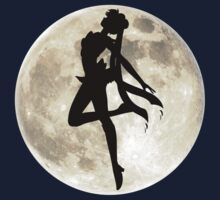 Sailor Moon Silhouette in front of Realistic Moon T-Shirt