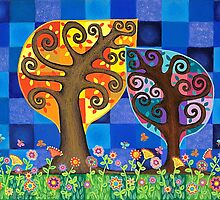 Two Trees by Lisa Frances Judd ~ QuirkyHappyArt