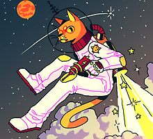Space Cat Print by Ondinel
