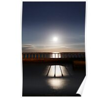 Whitby - moonrise through the East pier Poster