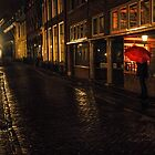 Night Lights of Utrecht. Orange Umbrella. Netherlands by JennyRainbow