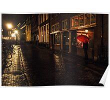 Night Lights of Utrecht. Orange Umbrella. Netherlands Poster