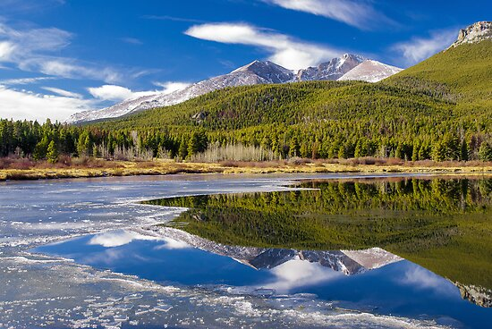 Mountain Reflection in Partially Frozen Lake by Photopa