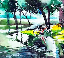 Cycle in puddle by Anil Nene