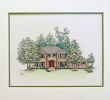 House Portrait in Pen and Ink by Katherine Thomas